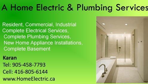 Plumbing installation, plumbing fittings, anytime plumbing, plumbing repair, plumbing troubleshooting, plumbing contractor,electrical service, electrical contractor, commercial electrical repair, home electrical repair, electrica intallation, general electrica repair, electrical work, electrical repair shop, general electrica appliance repair, electrical trouple shooting, A Home Electric & Plumbing Services, tamil business directory Toronto,Tamil Canadian