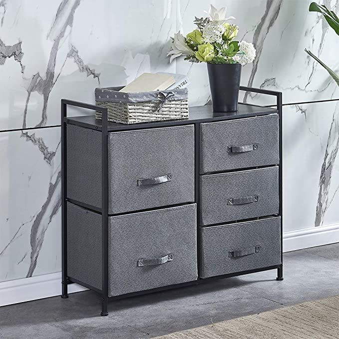 4homart Drawer Dresser Closet Dresser Organizer With 5 Easy Pull Fabric Drawers Storage Nbsp Unit With In 2020 Sideboard Storage Living Room Units Grey Bedroom Chest