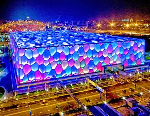 It's the Beijing National Aquatics Center in China, or the Water Cube, which was built in preparation for the 2008 Olympics. Among the major Olympic venues, only the Water Cube has had a productive afterlife.