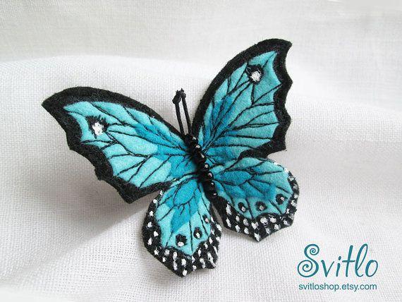Brooch Butterfly Light Blue Felt Brooch Hand by SvitLoShop