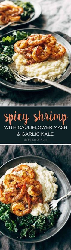 Spicy Shrimp with Garlic Kale and Cauliflower Mash   7 Tasty Dinner Recipes You'll Want To Bookmark