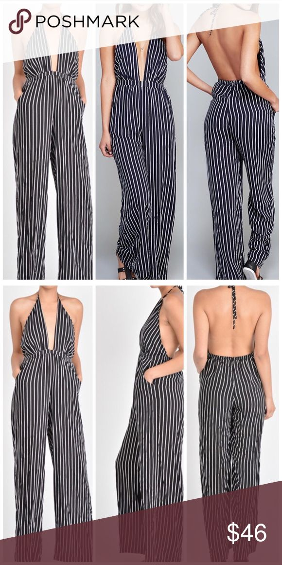 Stripe jumpsuit Haltered low cut stripe jumpsuit with slight wide legs and two front pockets. Runs a size big. Fits a large perfect. 100% rayon Pants Jumpsuits & Rompers
