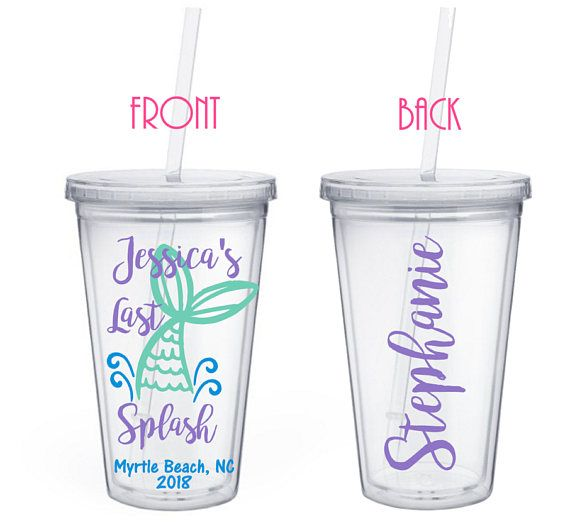This listing is for one or more Personalized 16 ounce Mermaid Bachelorette Favors - Last Splash - Mermaid Tail - Personalized - Bachelorette Theme - Mermaid Squad - Mermaid Tribe - Party cup - Mermaid Bachelorette  ***PLEASE COPY & PASTE THE FOLLOWING INFORMATION IN NOTES TO SELLER***