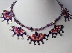 """OYA"" Needle lace and amethyst necklace"