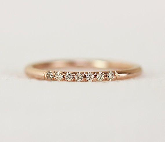 14 k anillo de bodas de diamante Champagne oro por KHIMJEWELRY