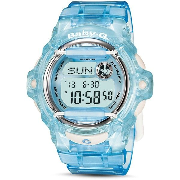 G-Shock Baby-g Watch, 43.6mm ($79) ❤ liked on Polyvore featuring jewelry, watches, blue, g shock watches, blue jewelry, blue jewellery, g shock wrist watch and blue watches