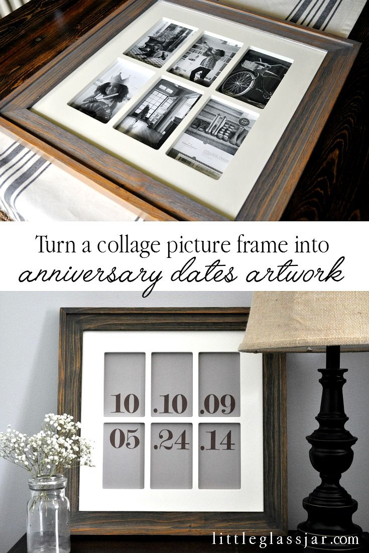 Turn any collage picture frame into anniversary dates artwork! ADORABLE! www.littleglassjar.com #anniversary #valentinesday #love