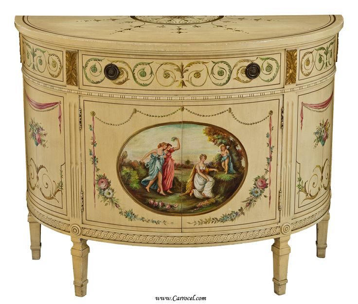 Hand Painted Classical Scene Cream Demi Lune Commode Cabinet Via Http://www