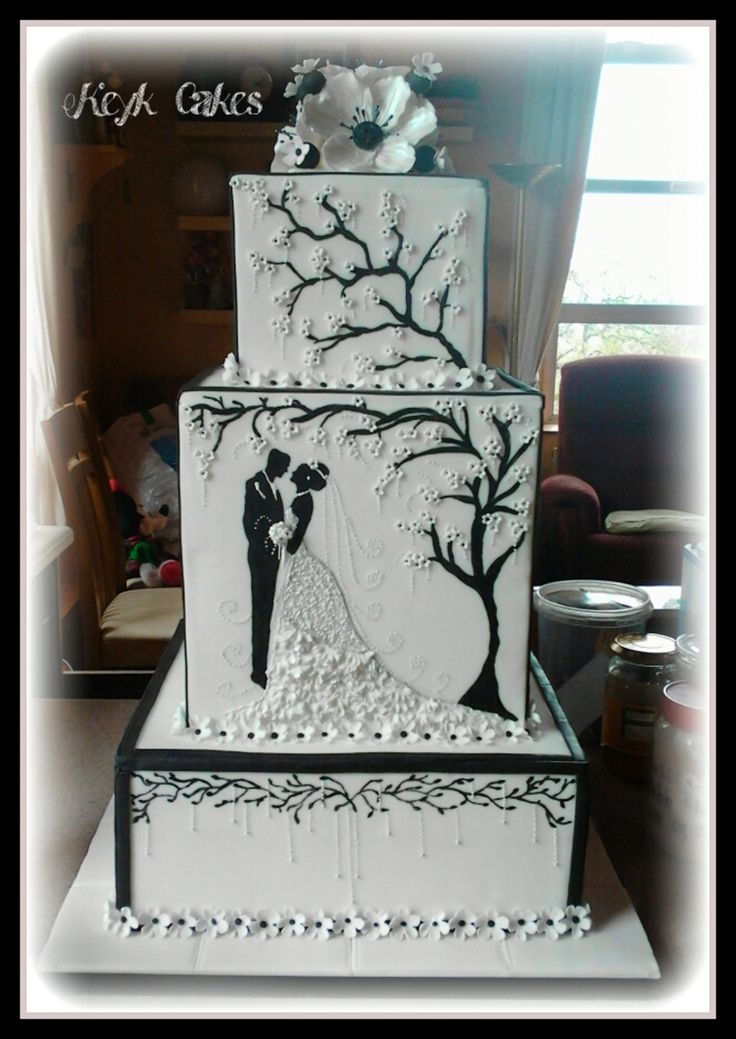 square black and white wedding cakes pictures%0A Black and White Blossom Pearl Square Wedding Cake by Keyk Cakes I really  like the silhouette illustration theme for a black and