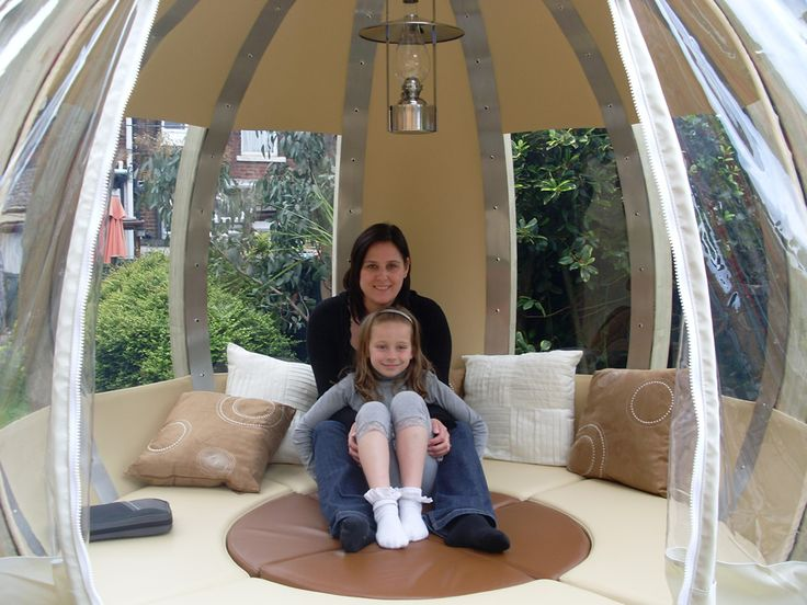 Ornate Garden's Rotating Sphere Lounger (pod) rotates 360° into the sun, shade or out of the breeze, lower the table to transform into a bed! http://ornategarden.com/