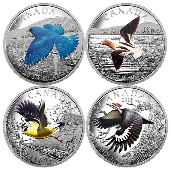 1 oz. Fine Silver Coloured 4-Coin Subscription – Colourful Birds of Canada (2016)
