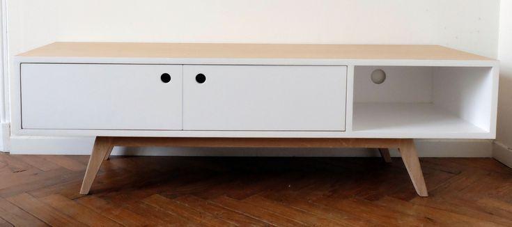 Meuble TV scandinave 2 portes battantes blanc satiné