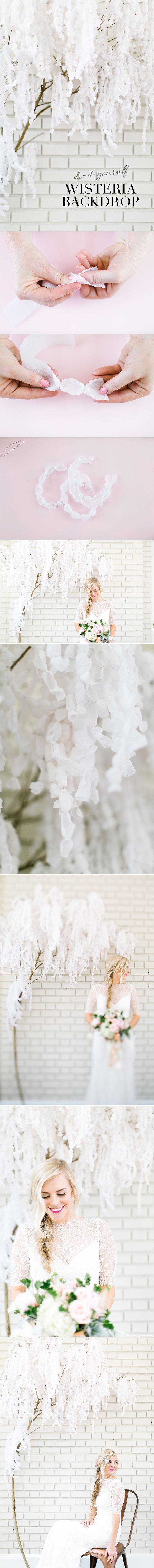 DIY - PAPER WISTERIA BACKDROP ( CLICK THROUGH FOR TUTORIAL ) >> YOU WILL NEED : CREPE PAPER STREAMERS, SCISSORS, JEWELRY OR FLORAL WIRE, WIRE CUTTERS, TRES BRANCH