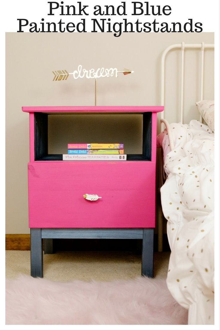 It's so easy to turn plain IKEA nightstands into pieces that pack a lot of punch! These Pink and Blue Painted Nightstands are perfect!