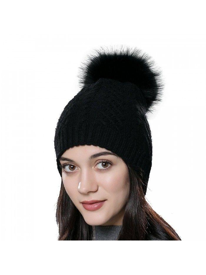 8177f9f8 Womens Winter Bobble Hat Unisex Wool Knit Beanie Cap with Fur Ball Pompom -  Black With Fox Fur Pompom - CK12N23NCMT - Hats & Caps, Women's Hats & Caps,  ...