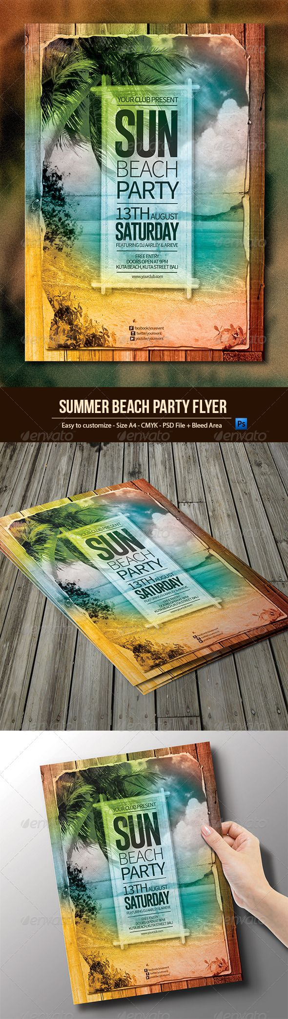 Summer Beach Party Flyer Template PSD | Buy and Download: http://graphicriver.net/item/summer-beach-party-flyer/8051873?WT.ac=category_thumb&WT.z_author=arifpoernomo&ref=ksioks