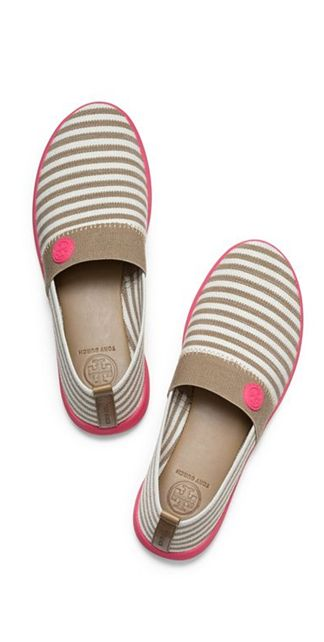 Love these canvas slide on sneakers from Tory Burch. Grey and white Stripes with a pop of pink? Yes, please.