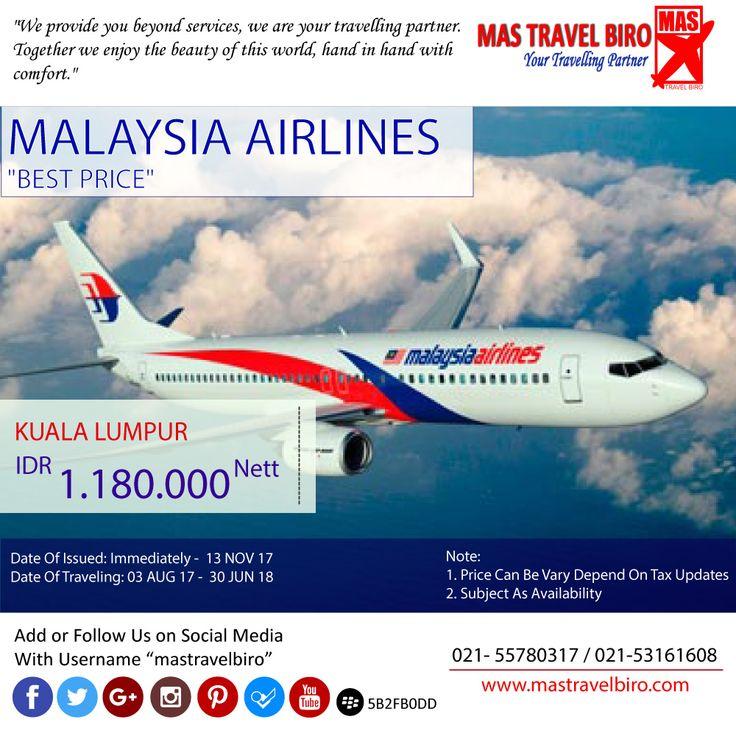 HOT PROMO MALAYSIA AIRLINES, Cek yuk Sekarang selagi ada😊  Untuk pertanyaan informasi tour,harga tiket pesawat, booking hotel tiket kereta api Add WA : 081298856950 Phone : 021 55780317 Email : tourhotel.metos@mastravelbiro.com  Beli tiket pesawat & KAI, booking hotel dan beli paket tour diMas Travel Biro ajaa.  #mastravelbiro #promotiket #travelservices #tiketpesawat #travelagent #tourtravel #travelindonesia #opentrip #familytour