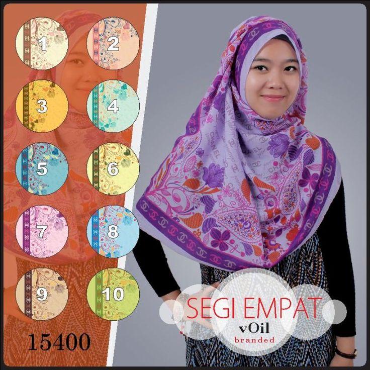 Model Jilbab Segi Empat Motif Bunga Branded Voil 15400