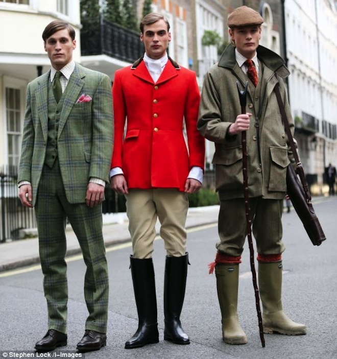 Country and hunting outfits - Spencer House, Savile Row. London.