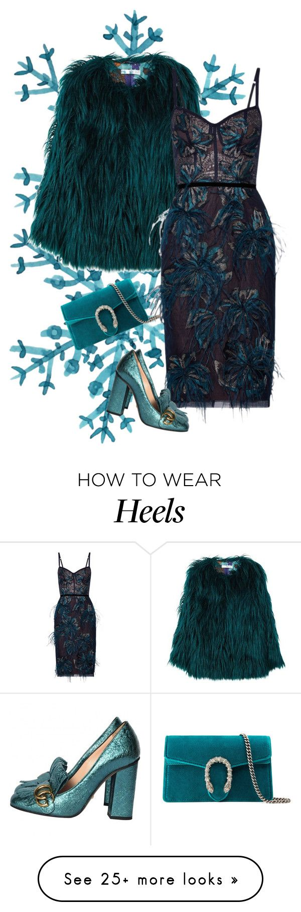 """lady n"" by atijanam on Polyvore featuring MANGO, Notte by Marchesa and Gucci"