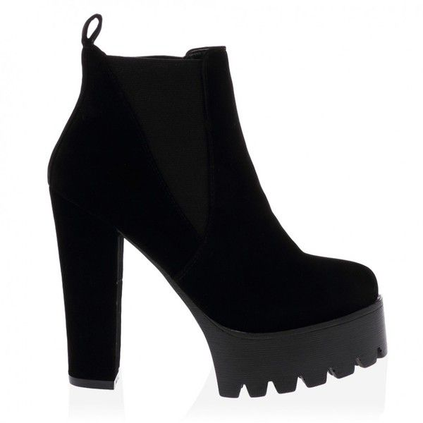 Hallie Black Faux Suede High Heel Chelsea Boots ❤ liked on Polyvore featuring shoes, boots, heels, footwear, platform boots, beatle boots, black boots, platform shoes and faux-suede boots