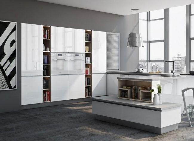 Grifflose Designküche b1 in Weiß mit Insel und Essplatz (bulthaup