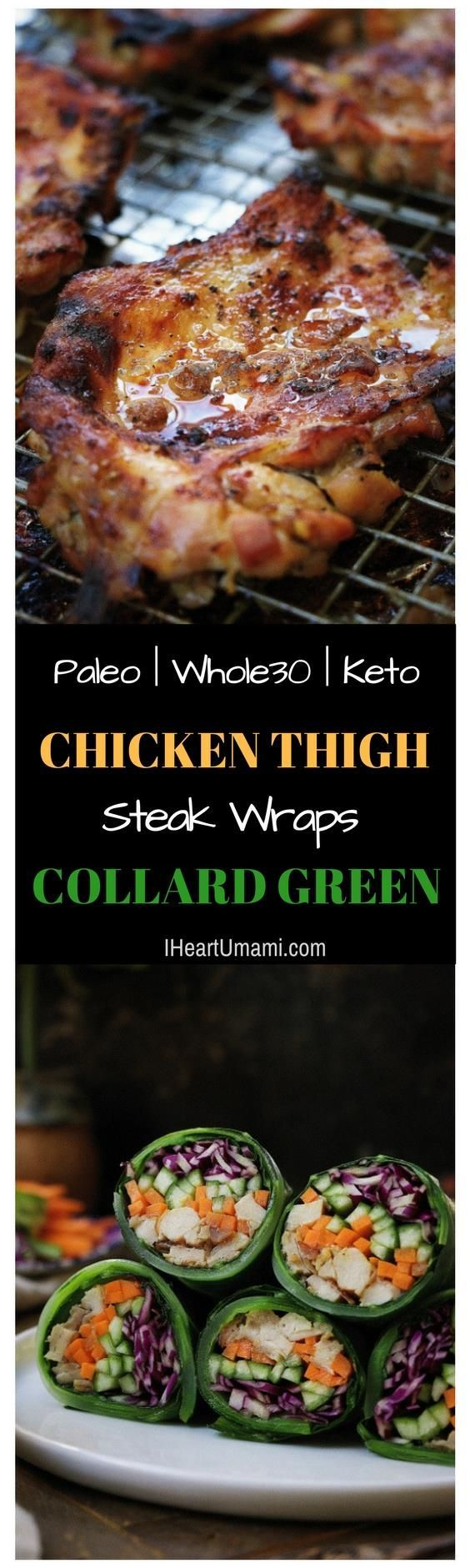 Paleo Chicken Thigh Steak Collard Green Wraps: oven baked boneless chicken thigh steak infused with roasted garlic clove flavor. Serve it alone or turn it into wraps for a delicious low carb chicken collard green wrap. Follow the link for a quick video demo and don't miss this insanely delicious baked chicken recipe !