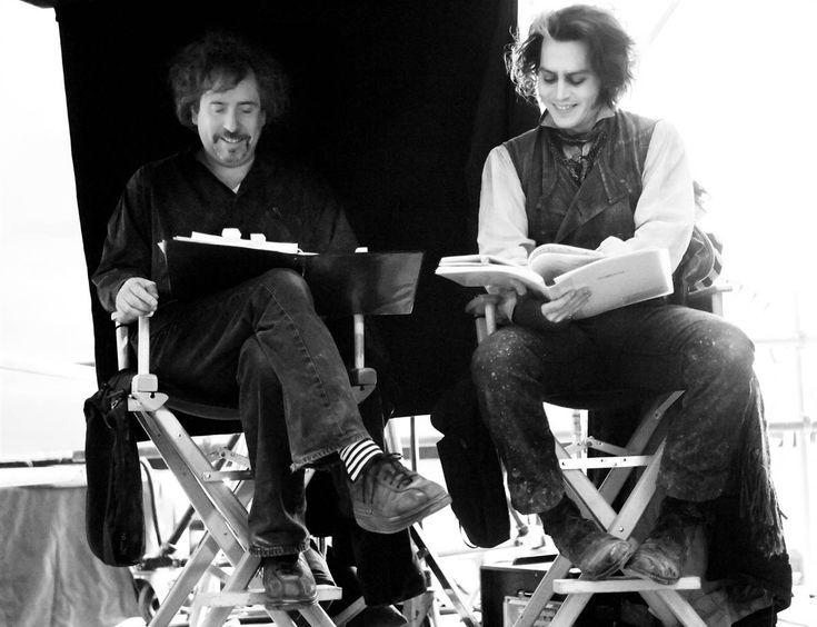 Tim Burton and Johnny Depp on the set of Sweeney Todd.