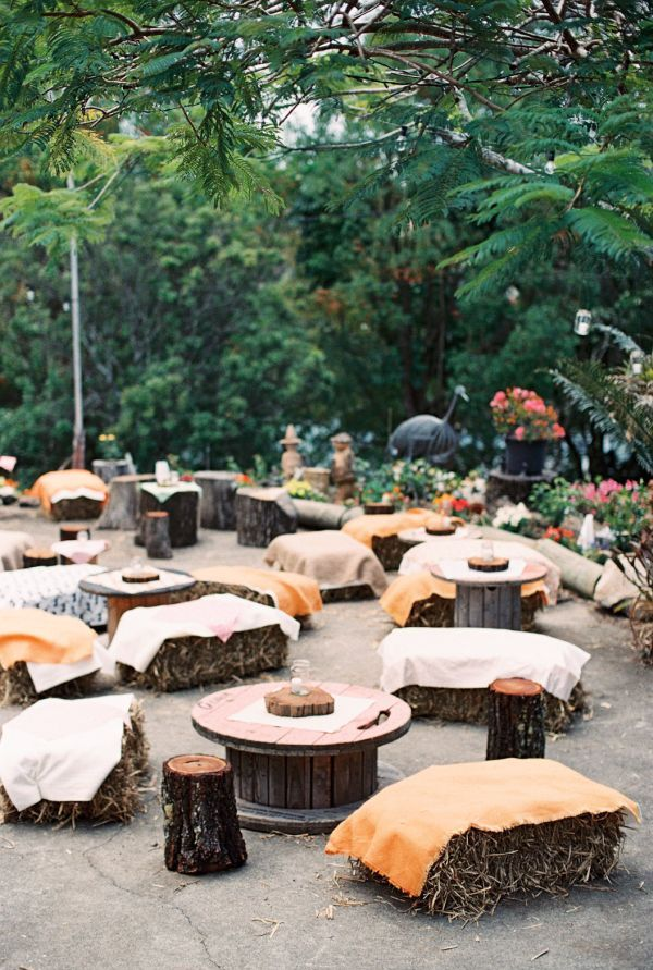 Australian Outdoor Wedding Reception, Never Thought About Hay Bales For  Chairs! That Would Save