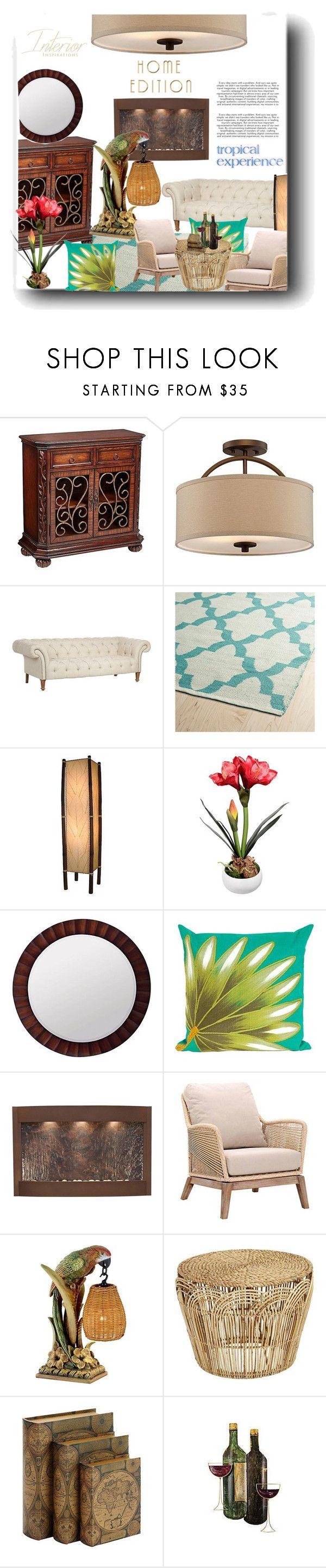"""Tropical Style"" by snezanamilunovic ❤ liked on Polyvore featuring interior, interiors, interior design, home, home decor, interior decorating, Possini Euro Design, Kaleen, Cooper Classics and Adagio"