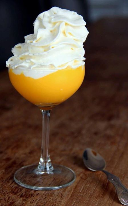 .advocaatje met slagroom. It is brandy with egg yolks. Very thick and sweet and a nice alcohol content