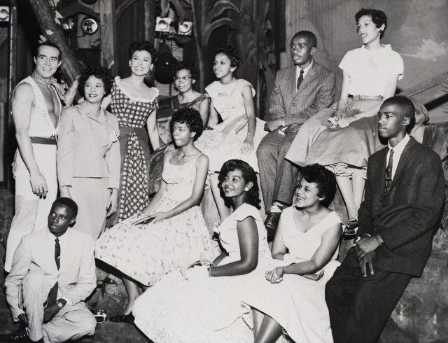 """Lena Horne and Ricardo Montalban with civil rights heroine Daisy Bates and the """"Little Rock Nine,"""" at New York's Imperial Theater on June 13, 1958. Horne and Montalban were starring in the musical, Jamaica at the theater.    The """"Little Rock Nine"""" were the nine brave students who integrated Central High School in Little Rock, Arkansas on September 25, 1957. The students are Melba Patillo Beals, Elizabeth Eckford, Ernest Green, Gloria Ray Karlmark, Carlotta Walls Lanier, Terrance Roberts…"""