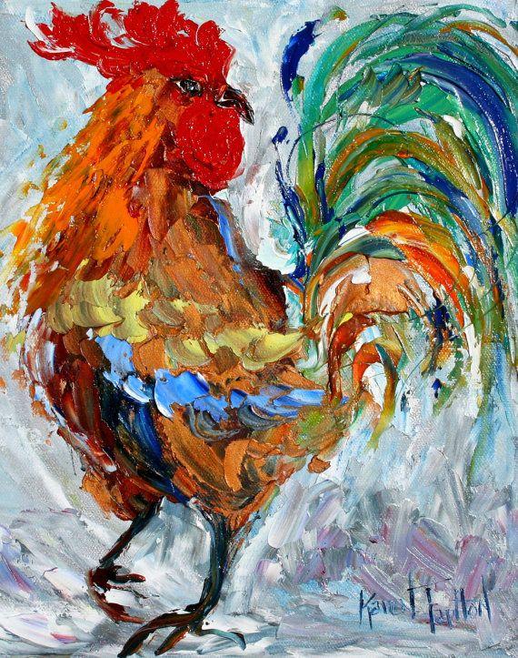 Arte impresión gallo danza - hecho de la imagen de pintura al óleo de Karen Tarlton - espátula whimsical moderno impresionista