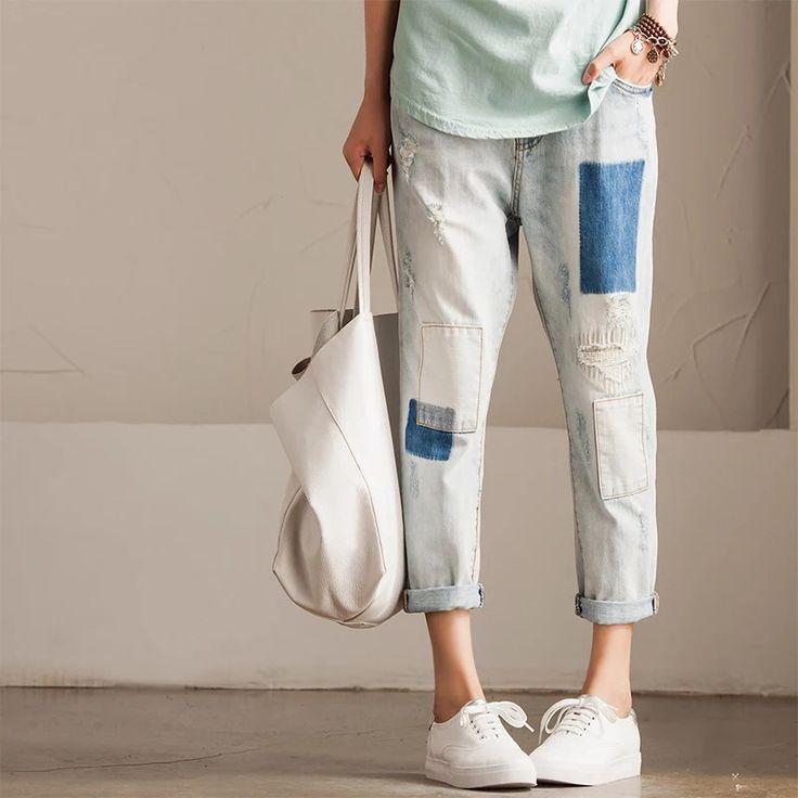 Fashion  patch trousers women's Cowboys pants