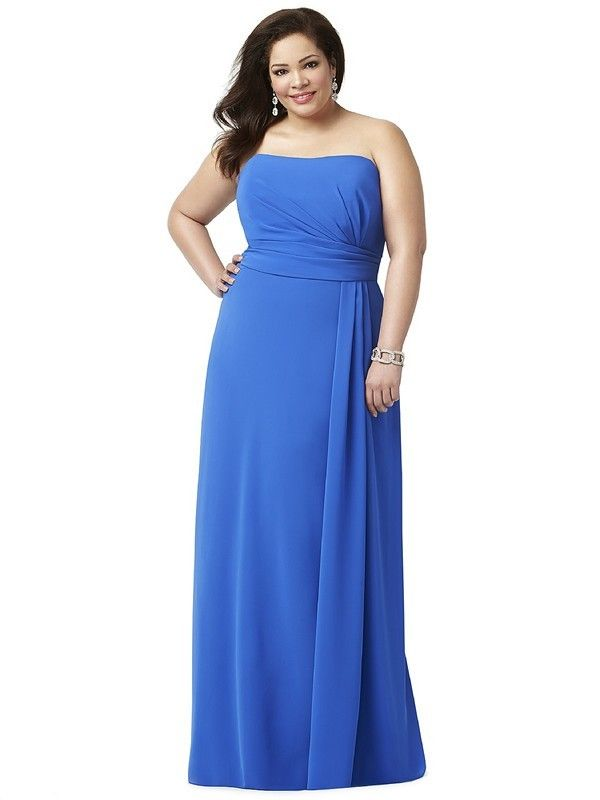 Dessy Lovelie 9004 Bridesmaid Dress.  This figure flattering full-length gown is fashioned from silky Nu-Georgette. The asymmetrically draped bodice is straight strapless, and has a semi-open back. The long skirt flows in soft lines with side pleats.