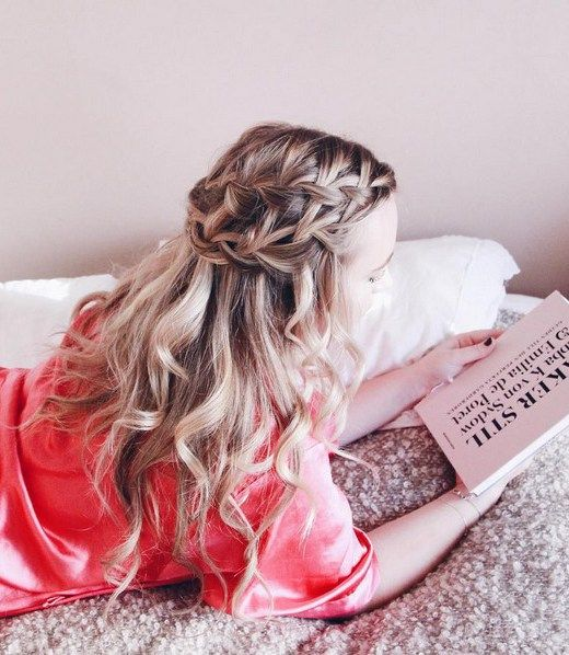 18 Elegant Hairstyles for Prom: #7. Double Waterfall Braids with Loosely Curled Ends