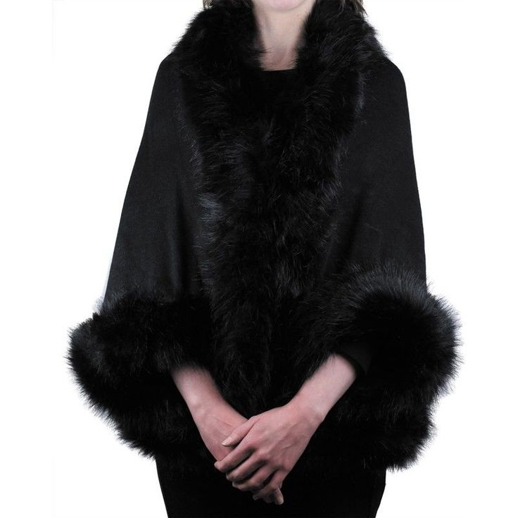 Soft Oversized Elegant Black Cape with Arm Openings & Black Faux Fur  NWT NEW #Simi #Cape #Formal