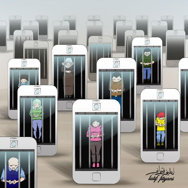 Cartoons that illustrate how smartphones and social media own people.  Check out more awesome work by Liam Francis Walsh.