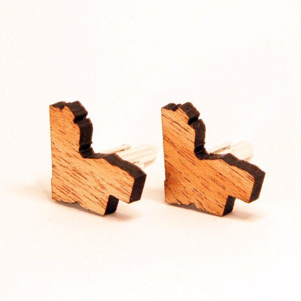 Ottawa cufflinks laser cut from mahogany or walnut.