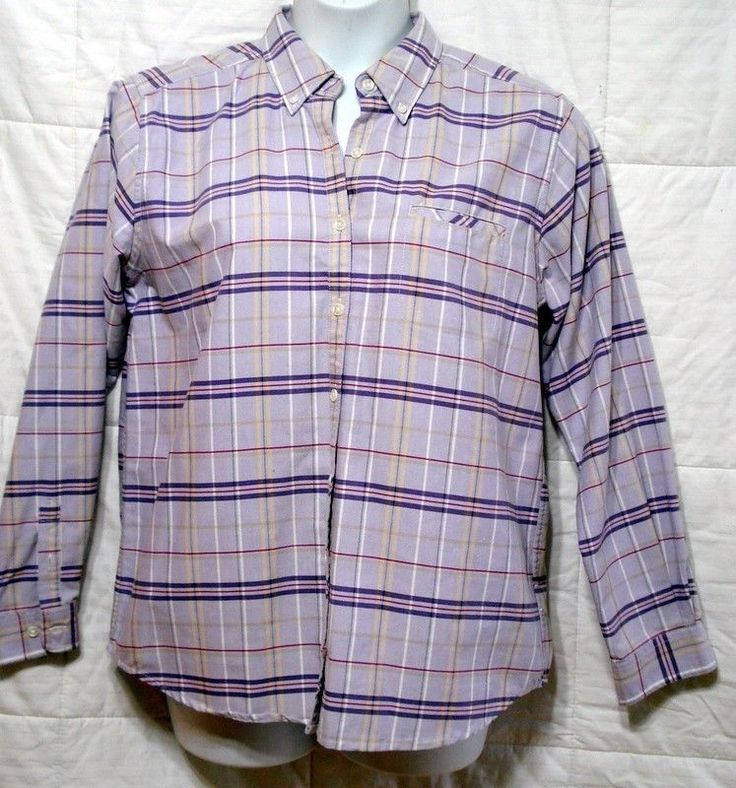 CABIN CREEK WOMAN 12T TALL PURPLE PLAID WRINKLE FREE TOP SHIRT BLOUSE OXFORD L/S #CABINCREEKJCPENNEY #ButtonDownShirt
