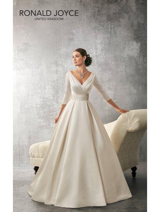 Ronald Joyce 69155 Andrea 3 4 Length Sleeves Satin Ball Gown Ivory Wedding Dresses Designer Wedding Dresses Bridal Dresses