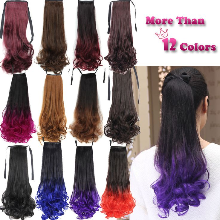 """20"""" 50cm Ombre Synthetic Long Lady Wowen Curly Wavy Clip in Ponytail Pony Tail Fake Hair Extension body wave Black Free Shipping"""
