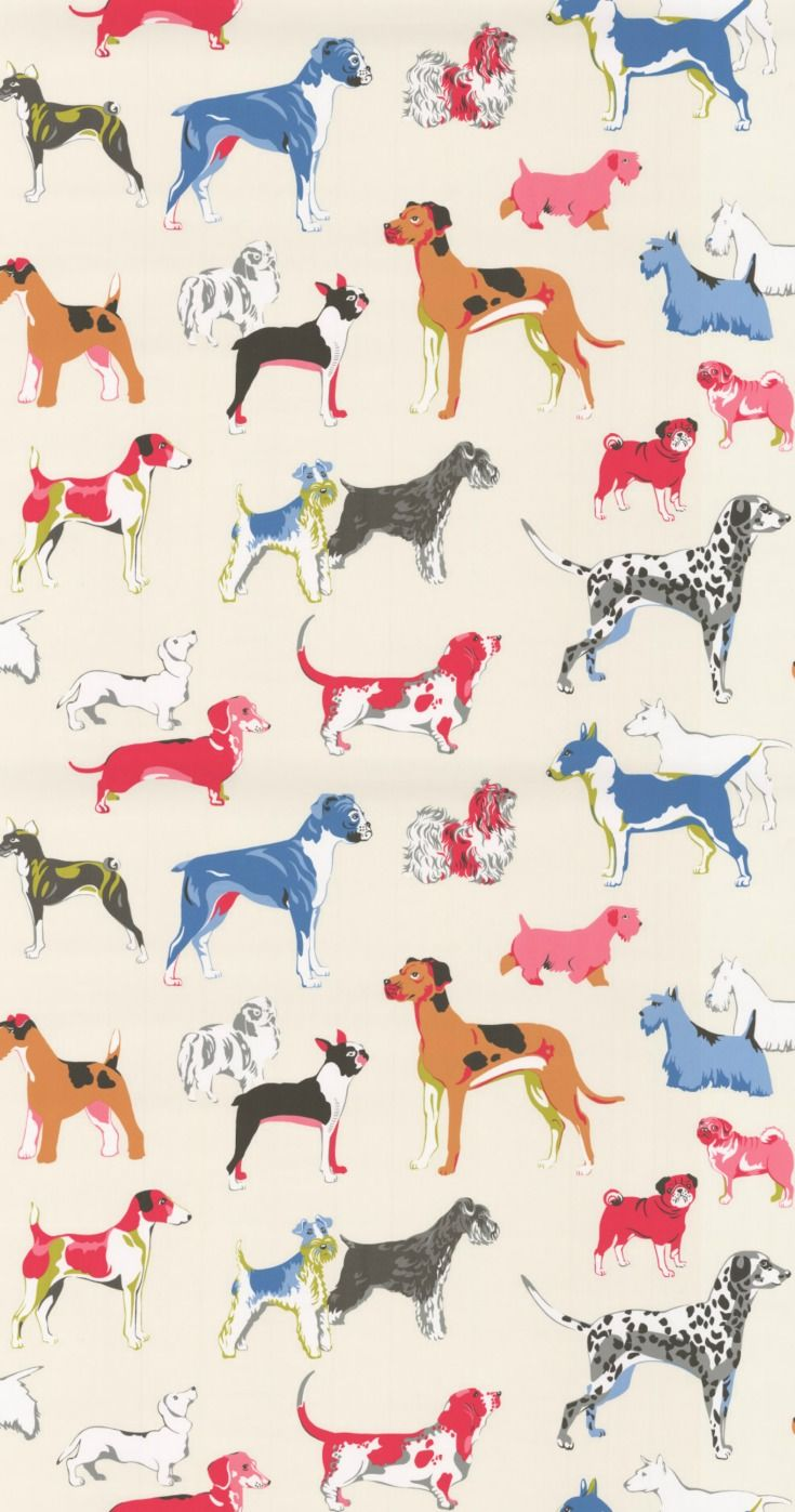Great Dane, French Bulldog, Dachshund, Bassett, Dalmatian, English Bull terrier and many more..... a fun, stylised all over design of our favourite dogs