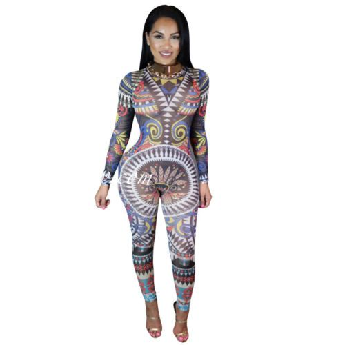 Women-Sexy-Mesh-Tribal-Geometric-Print-Long-Sleeve-Keyhole-Jumpsuit-Bodysuit