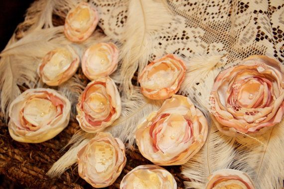matrimonio shabby chic decor tessuto fiore set di sunshowerflowers