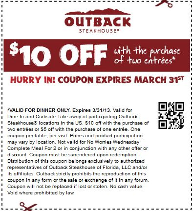 Outback steakhouse coupon code