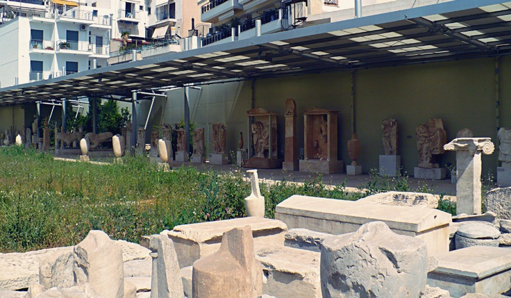 Exhibits from the yard of the archaeological museum. (Walking Athens, Route 24 - Piraeus)
