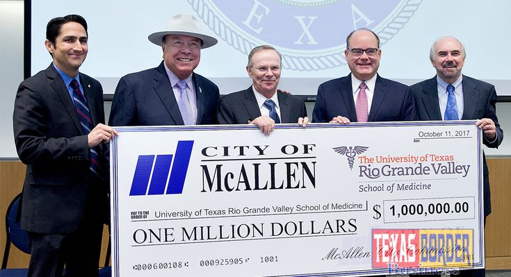 """Texas Border Business Payment to help provide healthcare for community, student training, medical research (McAllen-Edinburg, TX) Earlier today, the City of McAllen presented a ceremonial """"big check"""" to the UTRGV School of Medicine for their continued efforts to make the school one of the leading medical institutions of higher learning in Texas. The check represented …"""