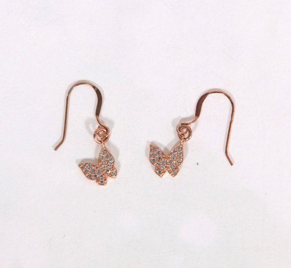 Rose gold earrings butterfly earrings gift by JewelryFamousWorld